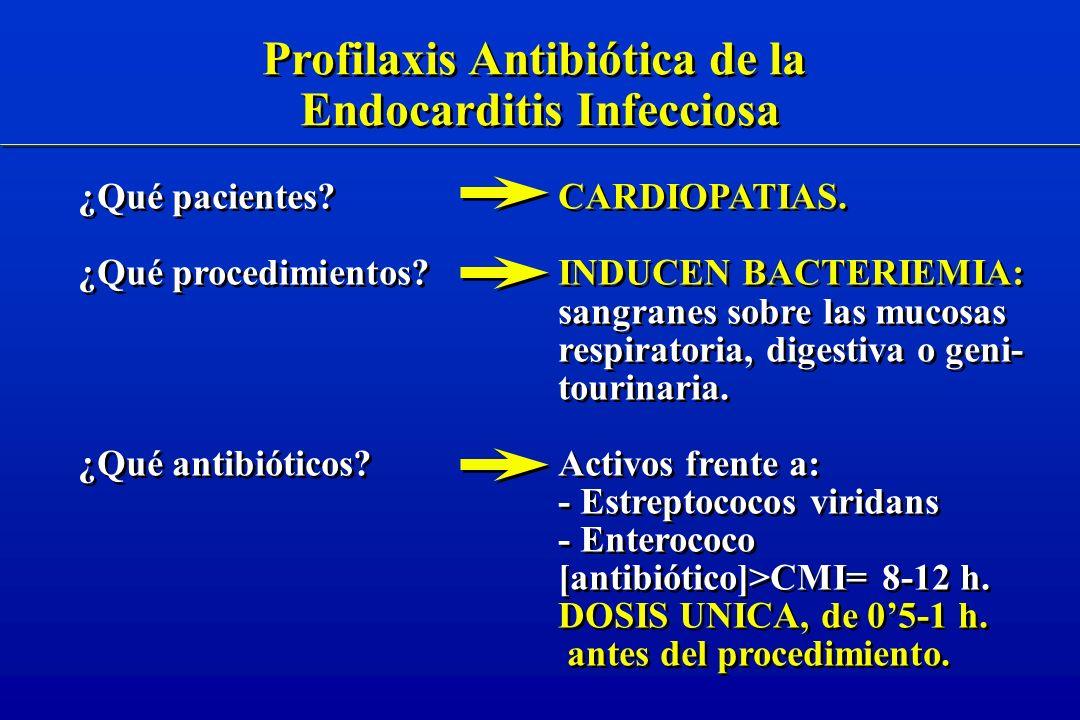 Profilaxis Antibiótica de la Endocarditis Infecciosa Profilaxis Antibiótica de la Endocarditis Infecciosa ¿Qué pacientes.