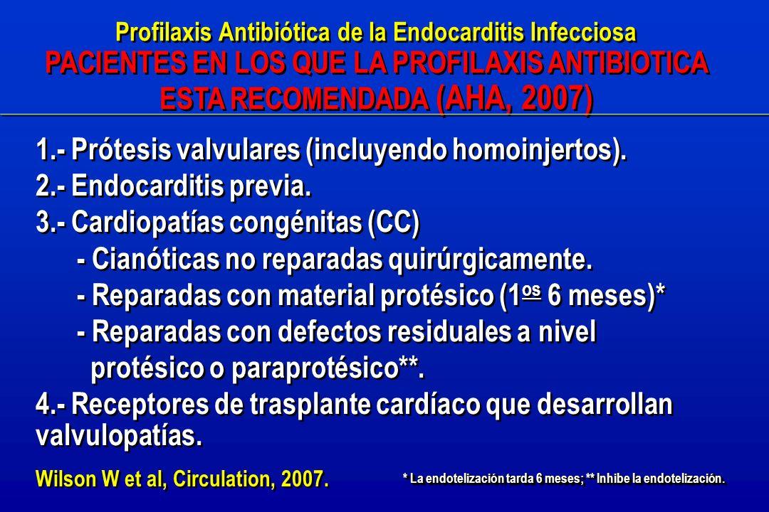 Profilaxis Antibiótica de la Endocarditis Infecciosa PACIENTES EN LOS QUE LA PROFILAXIS ANTIBIOTICA ESTA RECOMENDADA (AHA, 2007) Profilaxis Antibiótica de la Endocarditis Infecciosa PACIENTES EN LOS QUE LA PROFILAXIS ANTIBIOTICA ESTA RECOMENDADA (AHA, 2007) 1.- Prótesis valvulares (incluyendo homoinjertos).
