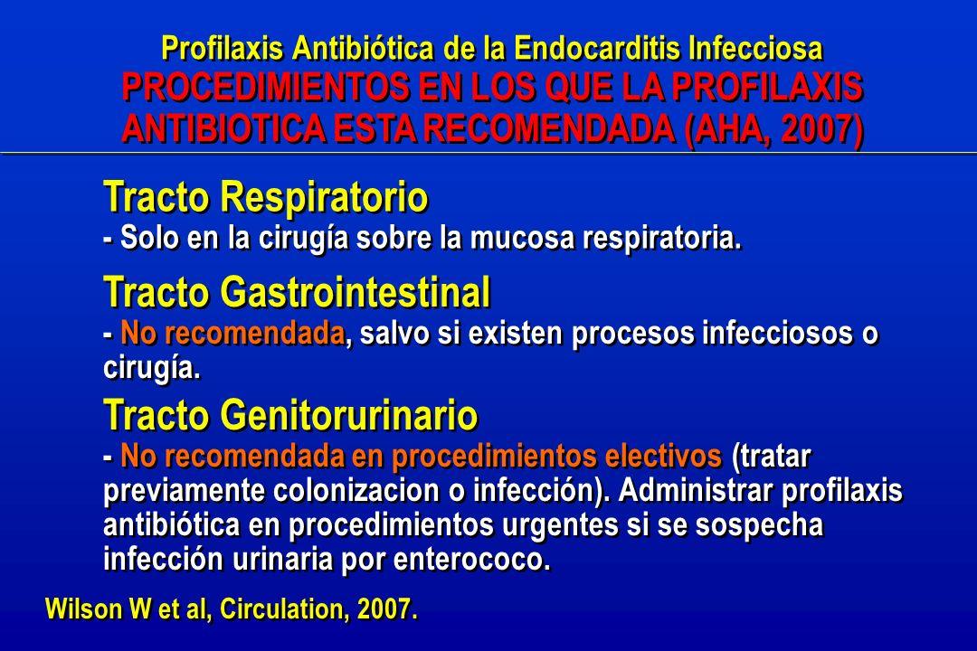 Profilaxis Antibiótica de la Endocarditis Infecciosa PROCEDIMIENTOS EN LOS QUE LA PROFILAXIS ANTIBIOTICA ESTA RECOMENDADA (AHA, 2007) Profilaxis Antibiótica de la Endocarditis Infecciosa PROCEDIMIENTOS EN LOS QUE LA PROFILAXIS ANTIBIOTICA ESTA RECOMENDADA (AHA, 2007) Tracto Respiratorio - Solo en la cirugía sobre la mucosa respiratoria.