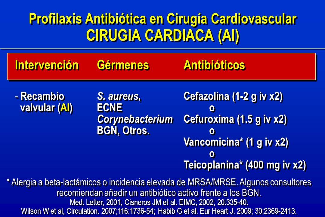 Profilaxis Antibiótica en Cirugía Cardiovascular CIRUGIA CARDIACA (AI) Profilaxis Antibiótica en Cirugía Cardiovascular CIRUGIA CARDIACA (AI) - Recambio valvular (AI) - Recambio valvular (AI) Cefazolina (1-2 g iv x2) o Cefuroxima (1.5 g iv x2) o Vancomicina* (1 g iv x2) o Teicoplanina* (400 mg iv x2) Cefazolina (1-2 g iv x2) o Cefuroxima (1.5 g iv x2) o Vancomicina* (1 g iv x2) o Teicoplanina* (400 mg iv x2) Intervención Antibióticos Gérmenes S.