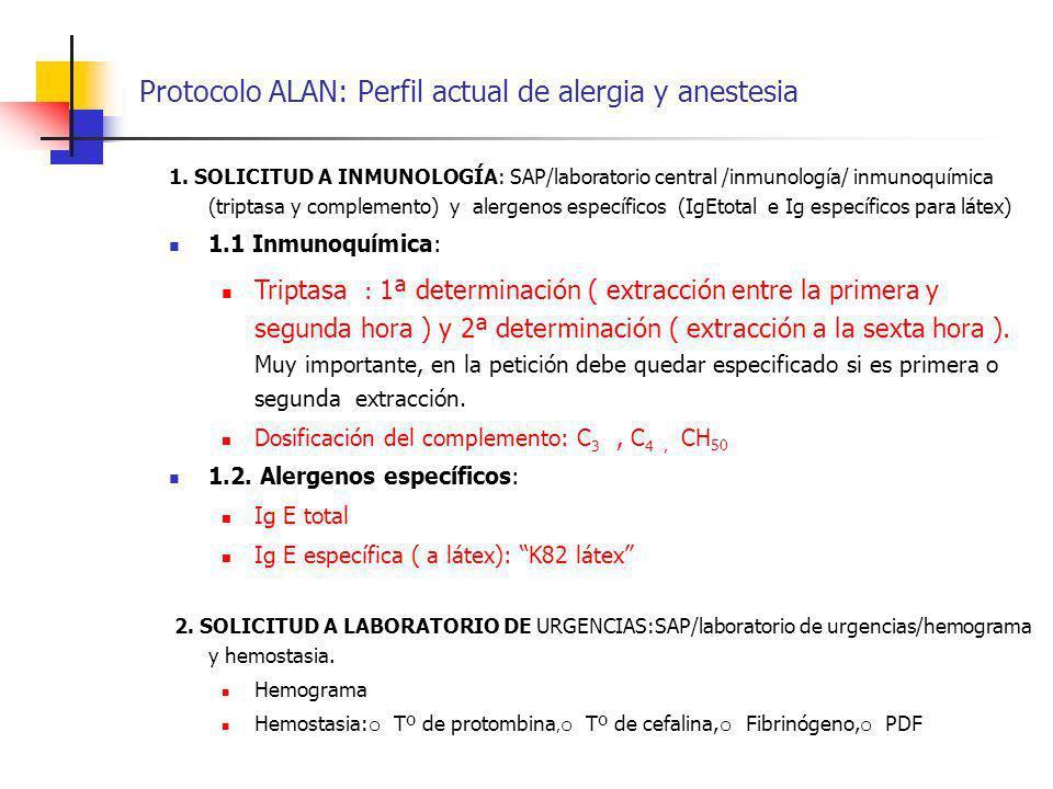 Protocolo ALAN: Perfil actual de alergia y anestesia 1. SOLICITUD A INMUNOLOGÍA: SAP/laboratorio central /inmunología/ inmunoquímica (triptasa y compl