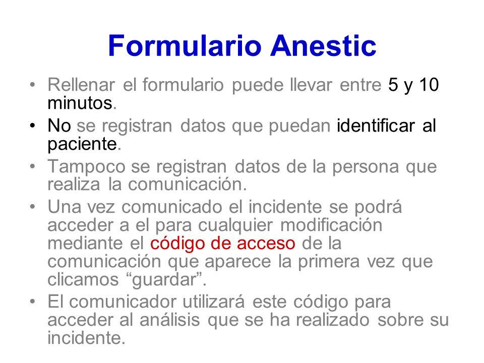 Formulario Anestic Rellenar el formulario puede llevar entre 5 y 10 minutos. No se registran datos que puedan identificar al paciente. Tampoco se regi