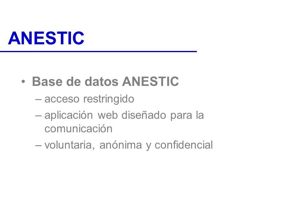 ANESTIC Base de datos ANESTIC –acceso restringido –aplicación web diseñado para la comunicación –voluntaria, anónima y confidencial