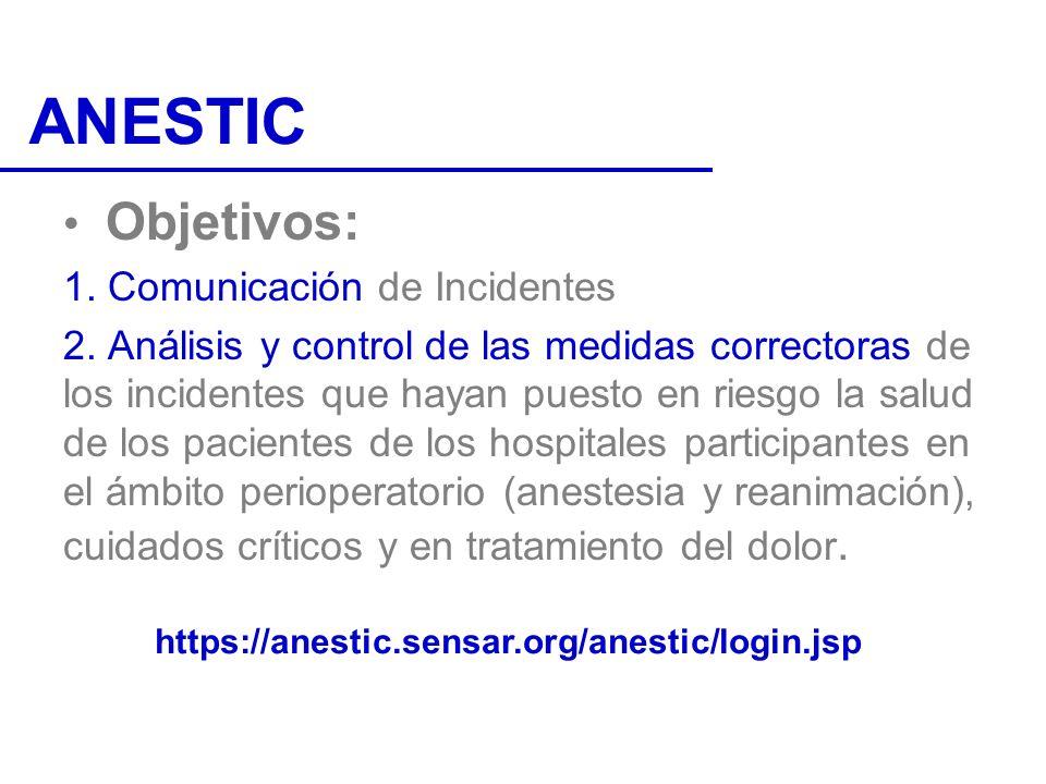 Objetivos: 1. Comunicación de Incidentes 2. Análisis y control de las medidas correctoras de los incidentes que hayan puesto en riesgo la salud de los
