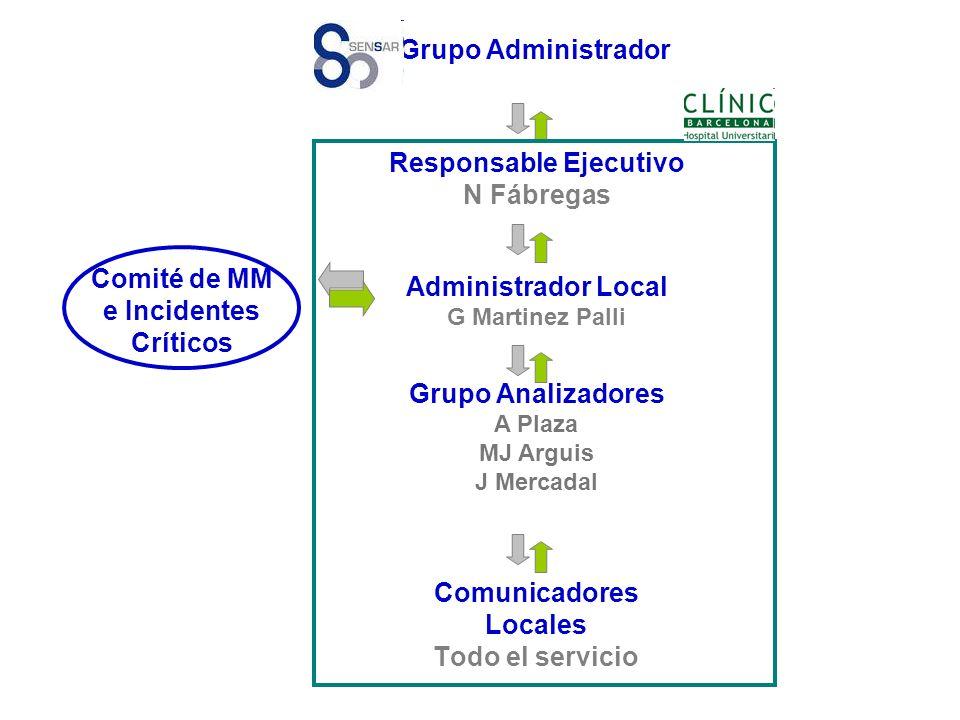 Comunicadores Locales Todo el servicio Grupo Administrador Responsable Ejecutivo N Fábregas Administrador Local G Martinez Palli Grupo Analizadores A