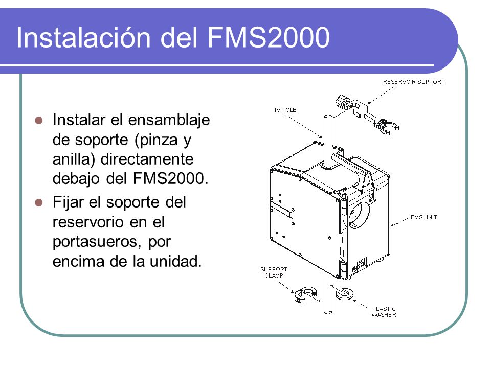Instalación del FMS2000 Instalar el ensamblaje de soporte (pinza y anilla) directamente debajo del FMS2000. Fijar el soporte del reservorio en el port