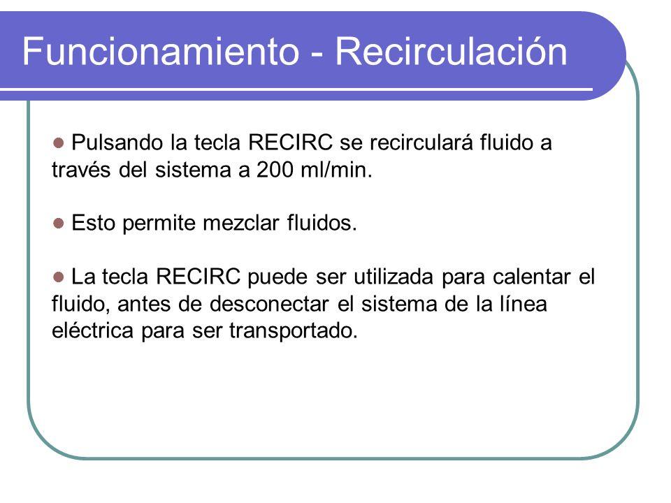 Funcionamiento - Recirculación Pulsando la tecla RECIRC se recirculará fluido a través del sistema a 200 ml/min. Esto permite mezclar fluidos. La tecl