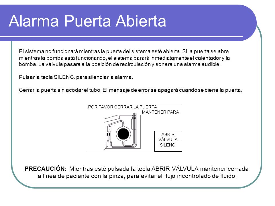 Alarma Puerta Abierta POR FAVOR CERRAR LA PUERTA MANTENER PARA SILENC. ABRIR VÁLVULA El sistema no funcionará mientras la puerta del sistema esté abie
