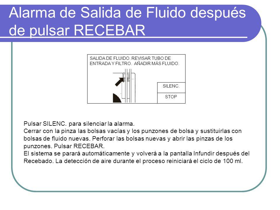 Alarma de Salida de Fluido después de pulsar RECEBAR SALIDA DE FLUIDO. REVISAR TUBO DE ENTRADA Y FILTRO. AÑADIR MÁS FLUIDO. STOP SILENC. Pulsar SILENC
