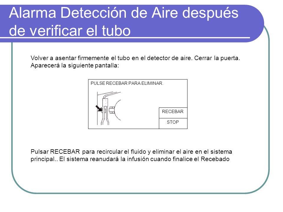 Alarma Detección de Aire después de verificar el tubo PULSE RECEBAR PARA ELIMINAR. STOP RECEBAR Volver a asentar firmemente el tubo en el detector de