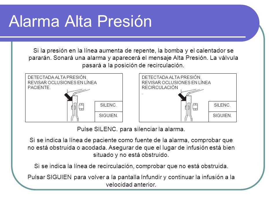 Alarma Alta Presión DETECTADA ALTA PRESIÓN. REVISAR OCLUSIONES EN LÍNEA PACIENTE. SIGUIEN. SILENC. DETECTADA ALTA PRESIÓN. REVISAR OCLUSIONES EN LÍNEA