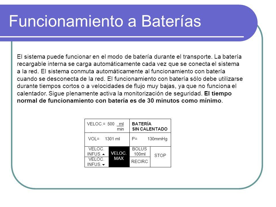 Funcionamiento a Baterías El sistema puede funcionar en el modo de batería durante el transporte.