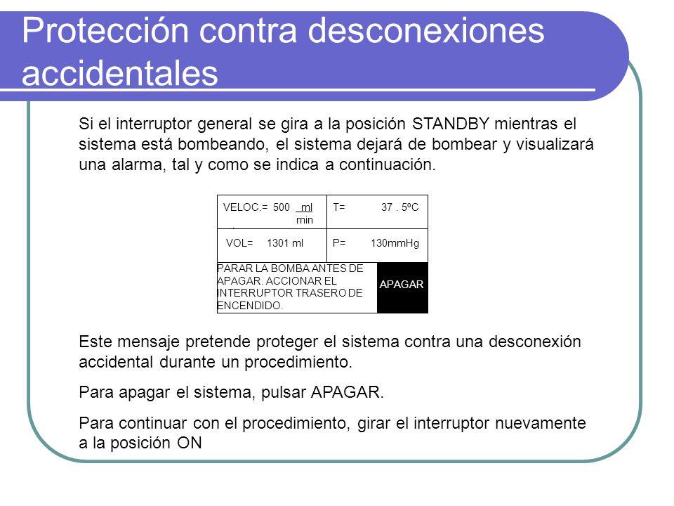 Protección contra desconexiones accidentales Si el interruptor general se gira a la posición STANDBY mientras el sistema está bombeando, el sistema de
