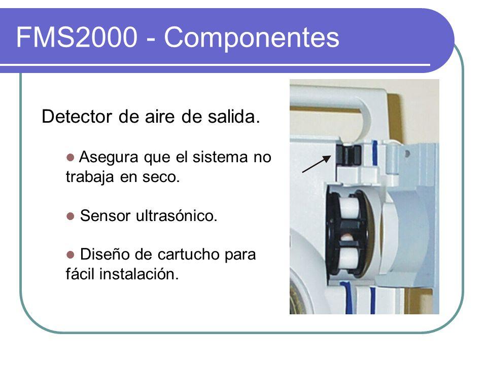 FMS2000 - Componentes Detector de aire de salida. Asegura que el sistema no trabaja en seco. Sensor ultrasónico. Diseño de cartucho para fácil instala