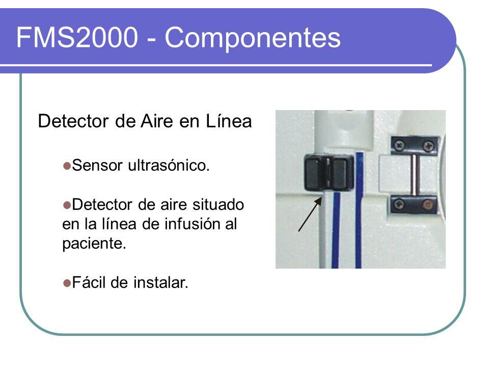 FMS2000 - Componentes Detector de Aire en Línea Sensor ultrasónico. Detector de aire situado en la línea de infusión al paciente. Fácil de instalar.