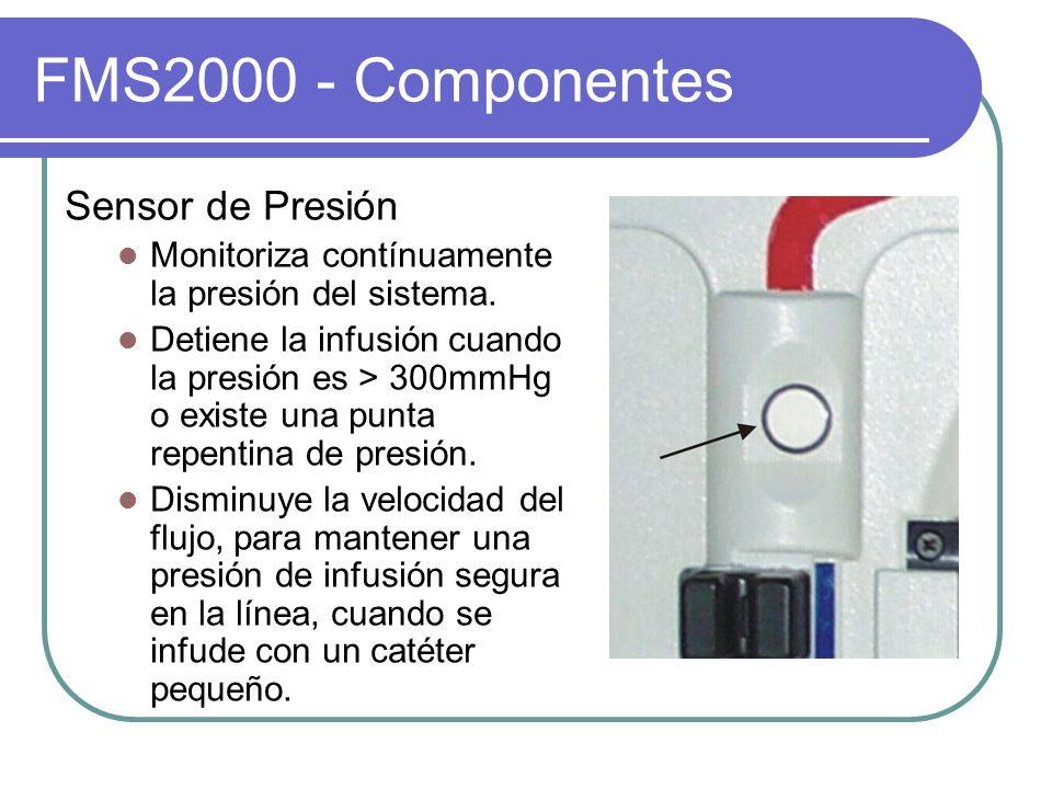 FMS2000 - Componentes Sensor de Presión Monitoriza contínuamente la presión del sistema. Detiene la infusión cuando la presión es > 300mmHg o existe u