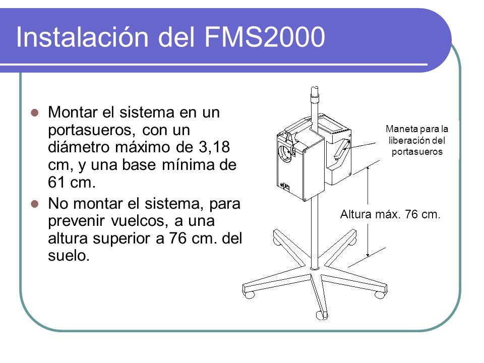 Instalación del FMS2000 Montar el sistema en un portasueros, con un diámetro máximo de 3,18 cm, y una base mínima de 61 cm. No montar el sistema, para