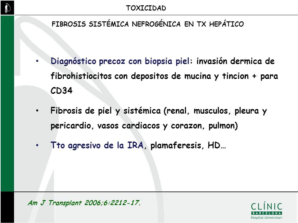 FIBROSIS SISTÉMICA NEFROGÉNICA EN TX HEPÁTICO TOXICIDAD Am J Transplant 2006;6:2212-17. Diagnóstico precoz con biopsia piel: invasión dermica de fibro