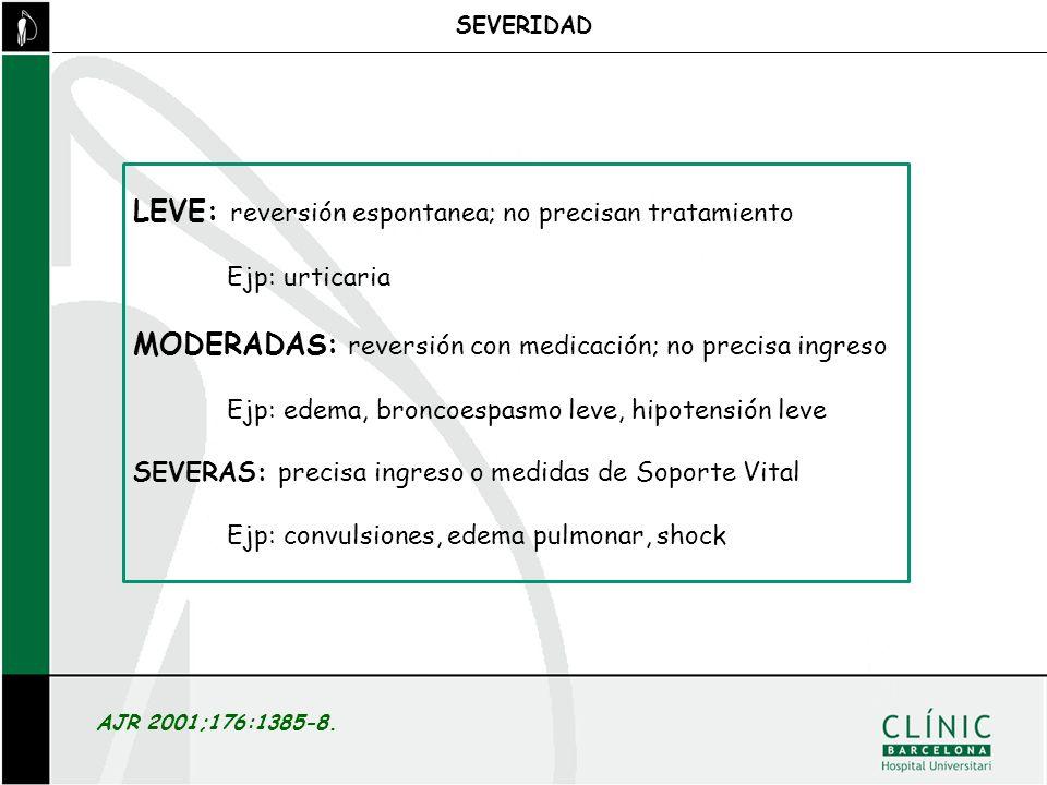AJR 2001;176:1385-8. SEVERIDAD LEVE: reversión espontanea; no precisan tratamiento Ejp: urticaria MODERADAS: reversión con medicación; no precisa ingr