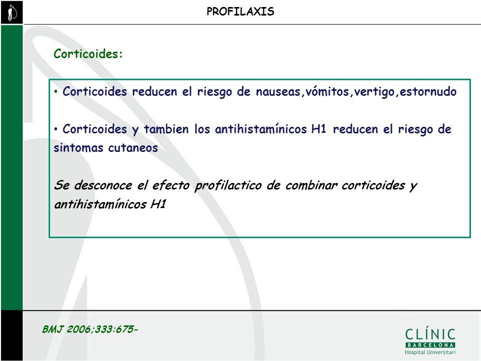 PROFILAXIS BMJ 2006;333:675- Corticoides reducen el riesgo de nauseas,vómitos,vertigo,estornudo Corticoides y tambien los antihistamínicos H1 reducen