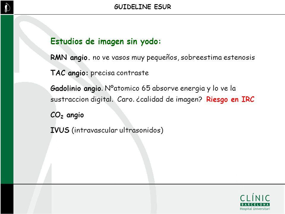 GUIDELINE ESUR Estudios de imagen sin yodo: RMN angio. no ve vasos muy pequeños, sobreestima estenosis TAC angio: precisa contraste Gadolinio angio. N