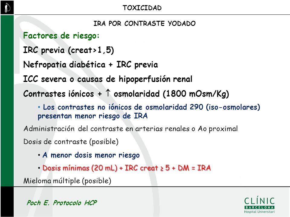 Factores de riesgo: IRC previa (creat>1,5) Nefropatia diabética + IRC previa ICC severa o causas de hipoperfusión renal Contrastes iónicos + osmolarid