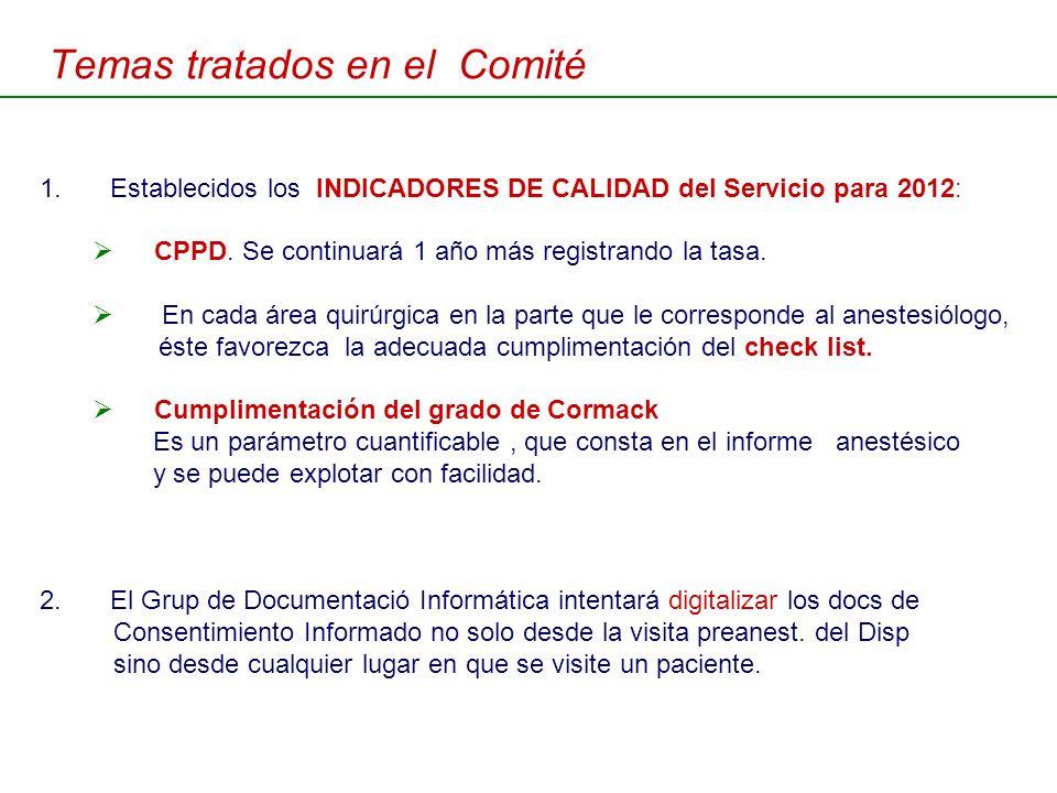 Temas tratados en el Comité 1.Establecidos los INDICADORES DE CALIDAD del Servicio para 2012: CPPD. Se continuará 1 año más registrando la tasa. En ca