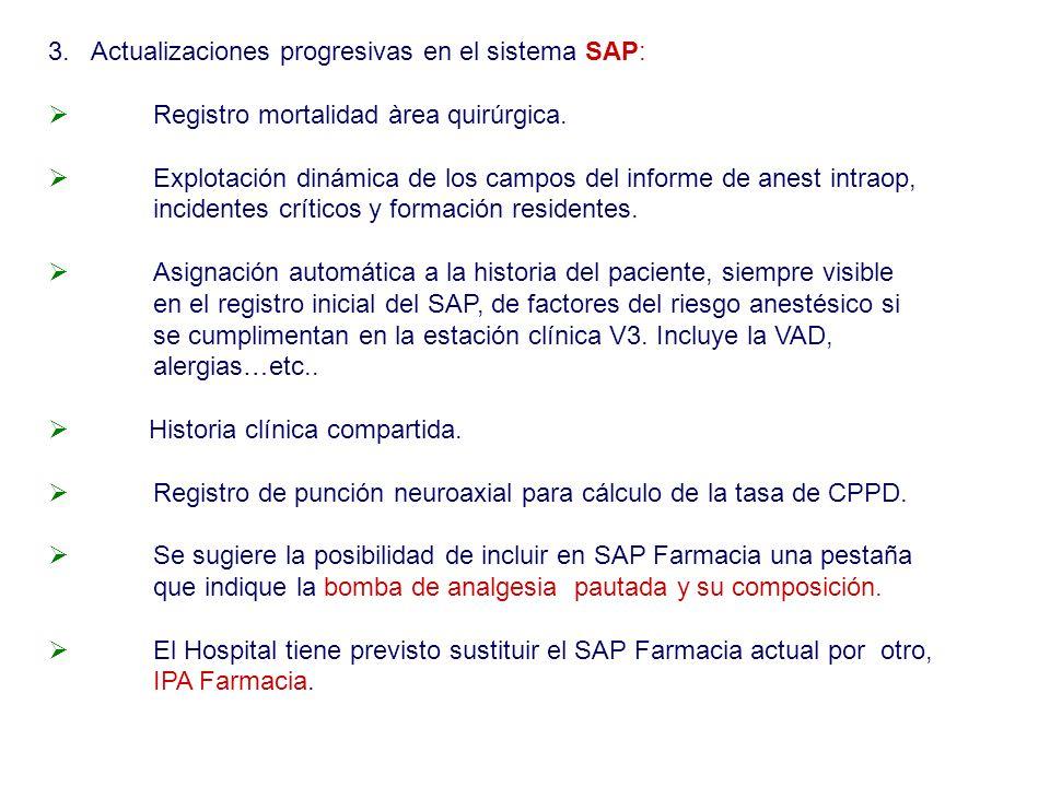 3. Actualizaciones progresivas en el sistema SAP: Registro mortalidad àrea quirúrgica. Explotación dinámica de los campos del informe de anest intraop