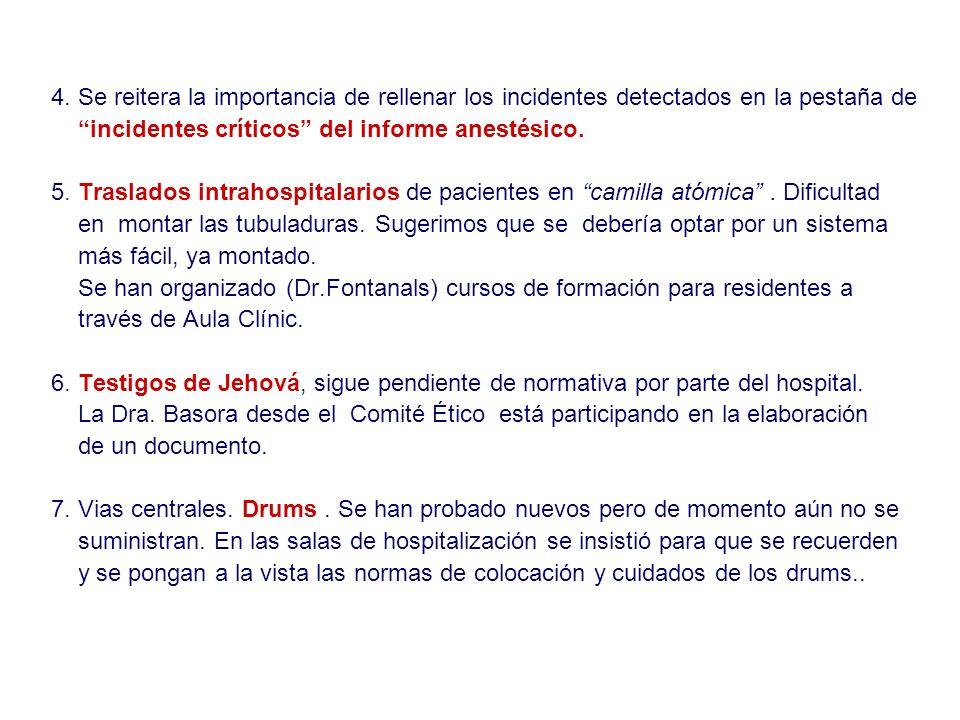 4. Se reitera la importancia de rellenar los incidentes detectados en la pestaña de incidentes críticos del informe anestésico. 5. Traslados intrahosp
