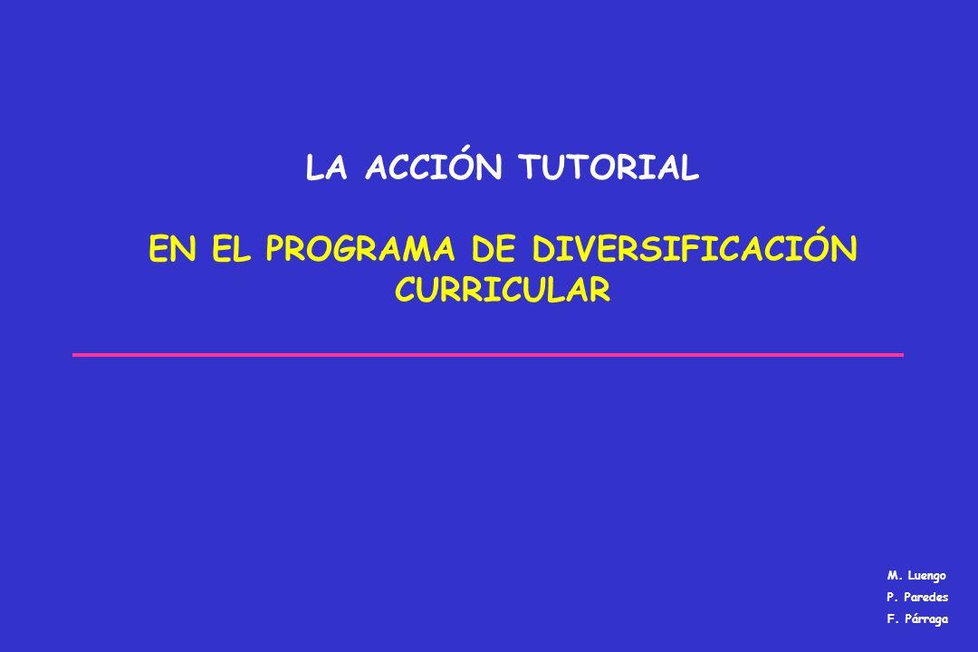 LA ACCIÓN TUTORIAL EN EL PROGRAMA DE DIVERSIFICACIÓN CURRICULAR M. Luengo P. Paredes F. Párraga