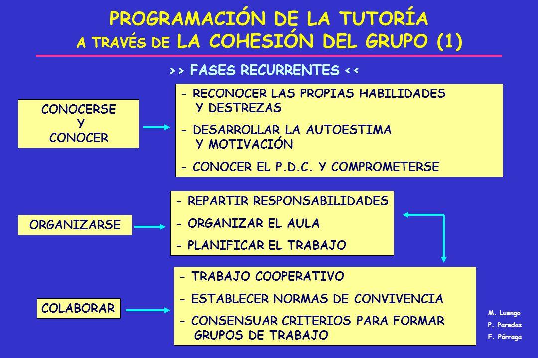 PROGRAMACIÓN DE LA TUTORÍA A TRAVÉS DE LA COHESIÓN DEL GRUPO (1) ORGANIZARSE CONOCERSE Y CONOCER COLABORAR - REPARTIR RESPONSABILIDADES - ORGANIZAR EL