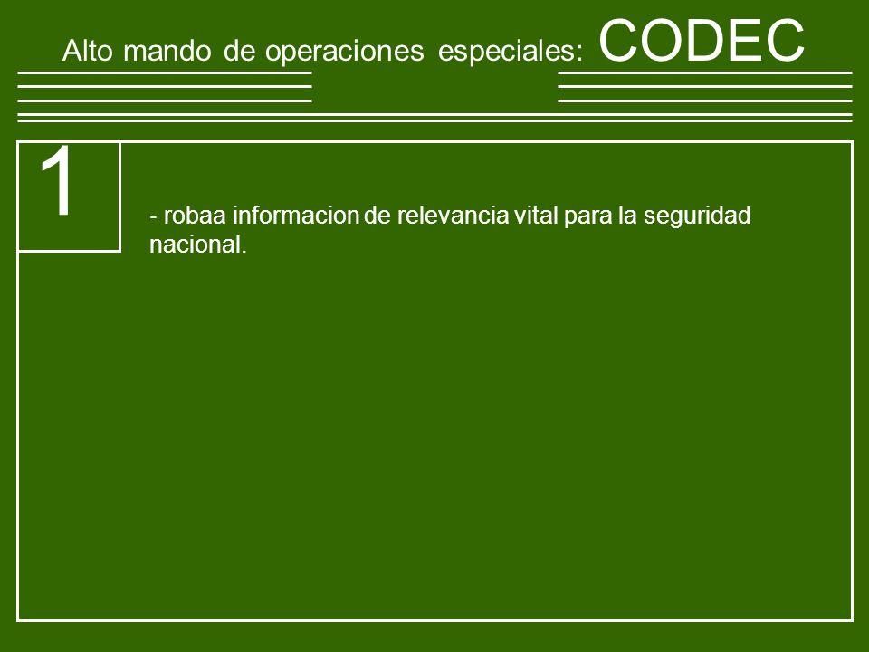 Alto mando de operaciones especiales : CODEC 1 robaa informacion de relevancia vital para la seguridad nacional.