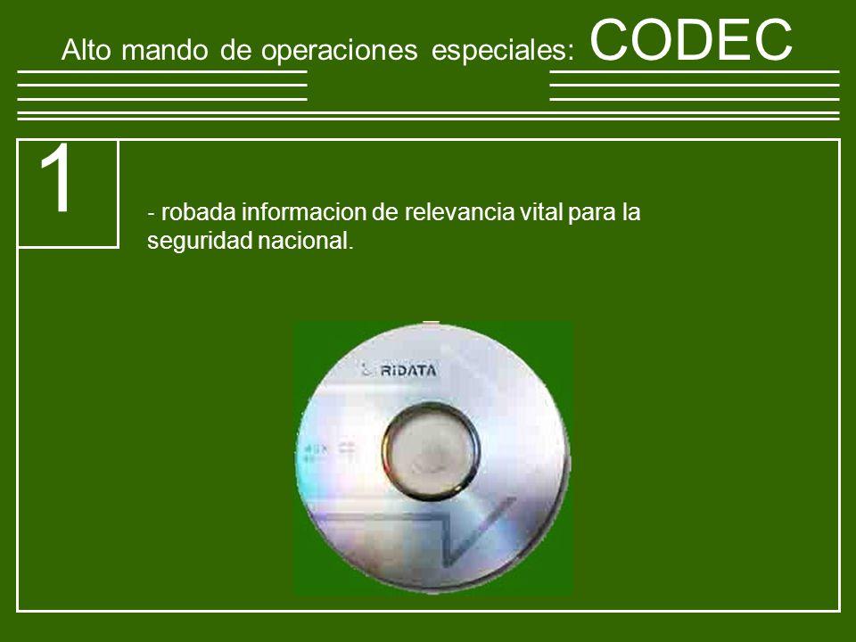 Alto mando de operaciones especiales : CODEC 1 robada informacion de relevancia vital para la seguridad nacional.