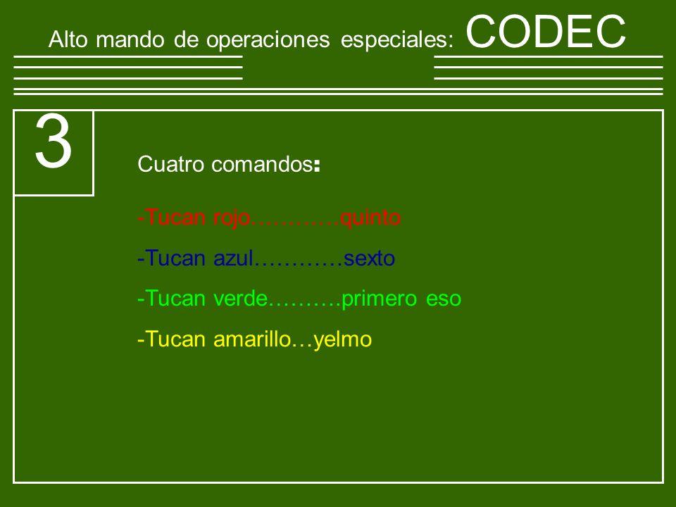 Alto mando de operaciones especiales : CODEC 3 -T-Tucan rojo…………quinto -T-Tucan azul…………sexto -T-Tucan verde……….primero eso -T-Tucan amarillo…yelmo Cuatro comandos :