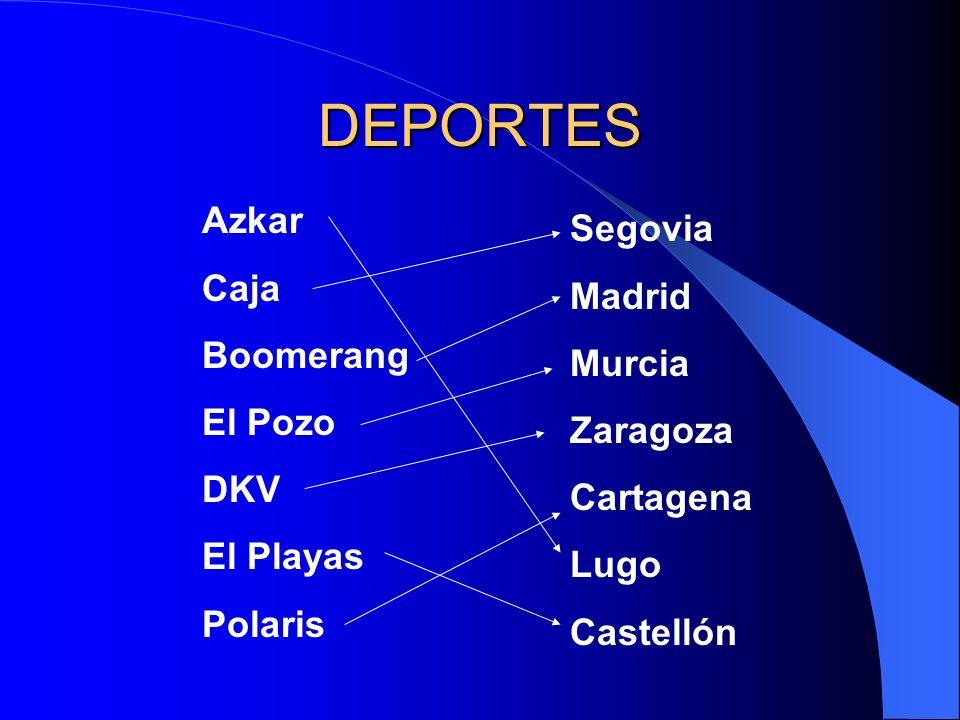 DEPORTES Azkar Caja Boomerang El Pozo DKV El Playas Polaris Segovia Madrid Murcia Zaragoza Cartagena Lugo Castellón