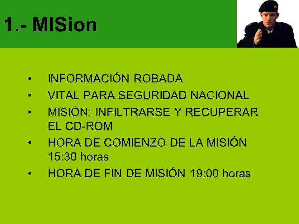 1.- MISion INFORMACIÓN ROBADA VITAL PARA SEGURIDAD NACIONAL MISIÓN: INFILTRARSE Y RECUPERAR EL CD-ROM HORA DE COMIENZO DE LA MISIÓN 15:30 horas HORA D
