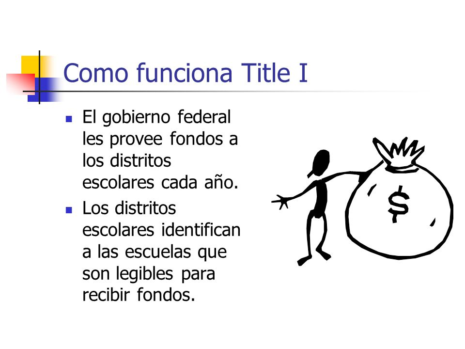 Como funciona Title I El gobierno federal les provee fondos a los distritos escolares cada año. Los distritos escolares identifican a las escuelas que