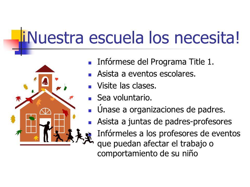 ¡Nuestra escuela los necesita! Infórmese del Programa Title 1. Asista a eventos escolares. Visite las clases. Sea voluntario. Únase a organizaciones d