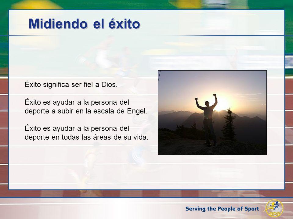 Midiendo el éxito Éxito significa ser fiel a Dios. Éxito es ayudar a la persona del deporte a subir en la escala de Engel. Éxito es ayudar a la person
