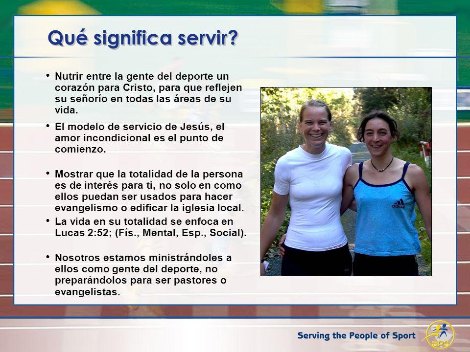 Qué significa servir? Nutrir entre la gente del deporte un corazón para Cristo, para que reflejen su señorío en todas las áreas de su vida. El modelo