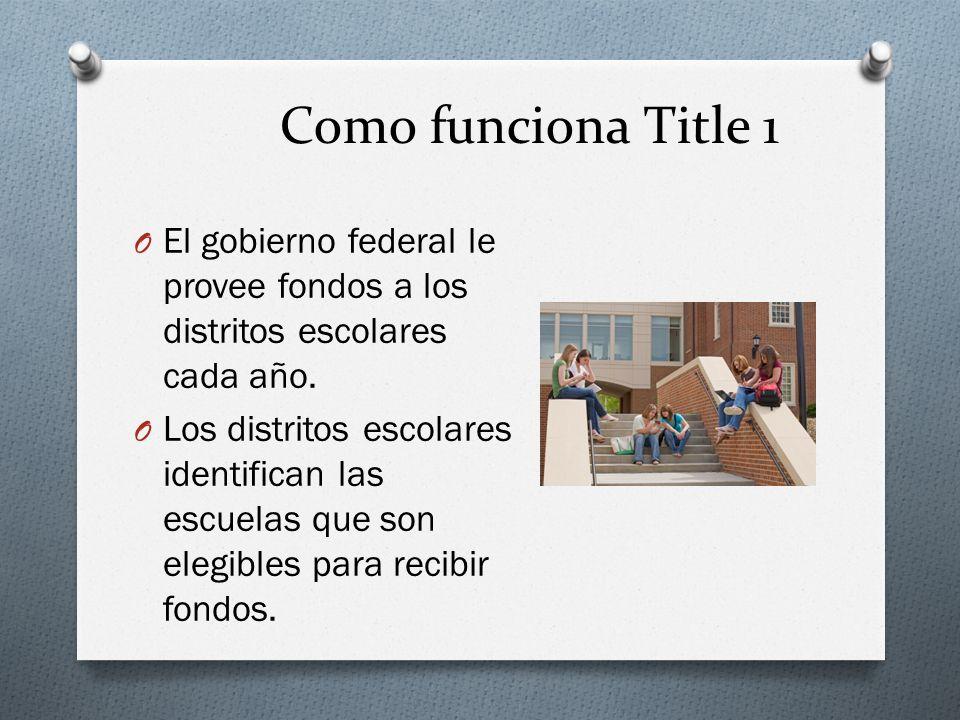 Como funciona Title 1 O El gobierno federal le provee fondos a los distritos escolares cada año.