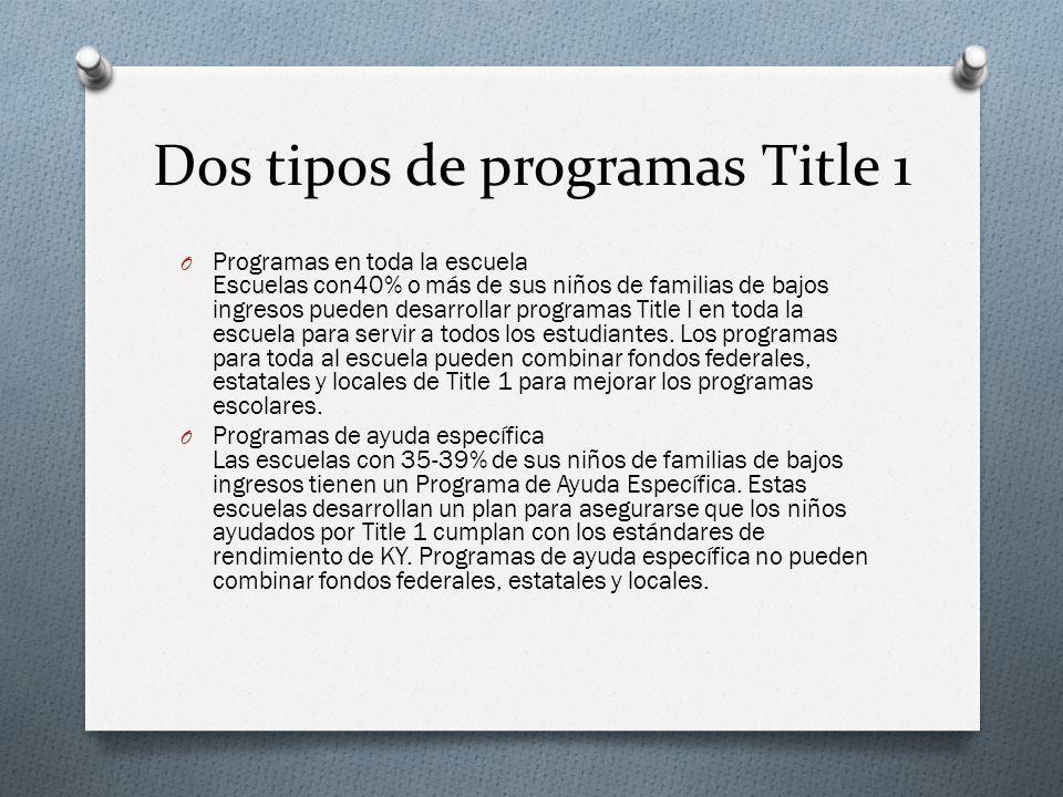 Dos tipos de programas Title 1 O Programas en toda la escuela Escuelas con40% o más de sus niños de familias de bajos ingresos pueden desarrollar programas Title I en toda la escuela para servir a todos los estudiantes.