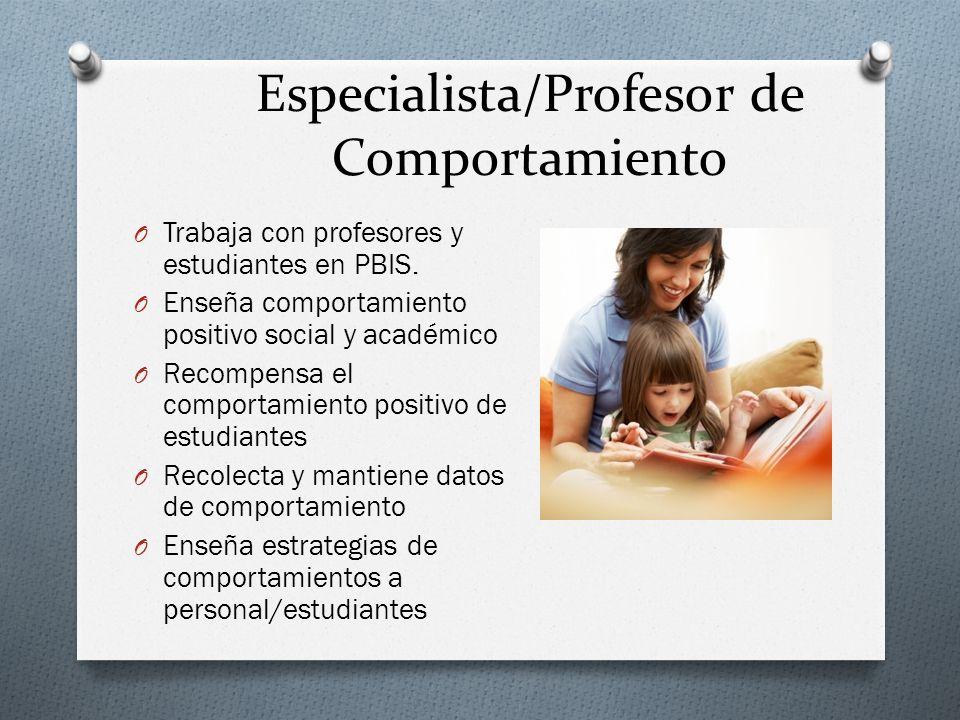 Especialista/Profesor de Comportamiento O Trabaja con profesores y estudiantes en PBIS.