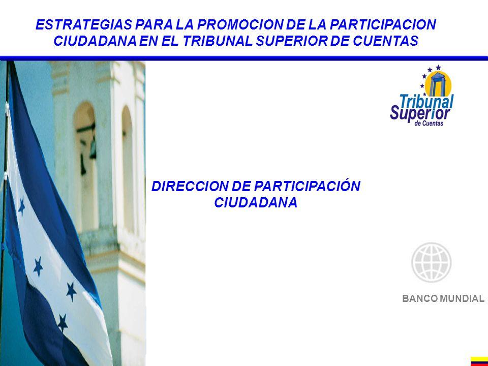 BANCO MUNDIAL ESTRATEGIAS PARA LA PROMOCION DE LA PARTICIPACION CIUDADANA EN EL TRIBUNAL SUPERIOR DE CUENTAS DIRECCION DE PARTICIPACIÓN CIUDADANA