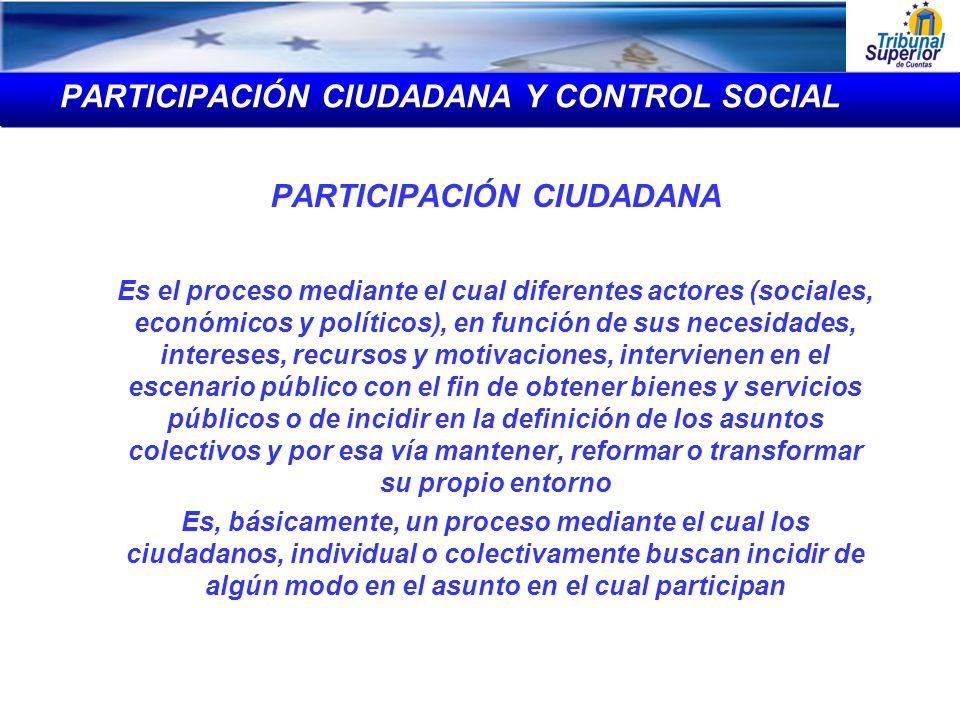 PARTICIPACIÓN CIUDADANA Y CONTROL SOCIAL PARTICIPACIÓN CIUDADANA Es el proceso mediante el cual diferentes actores (sociales, económicos y políticos),