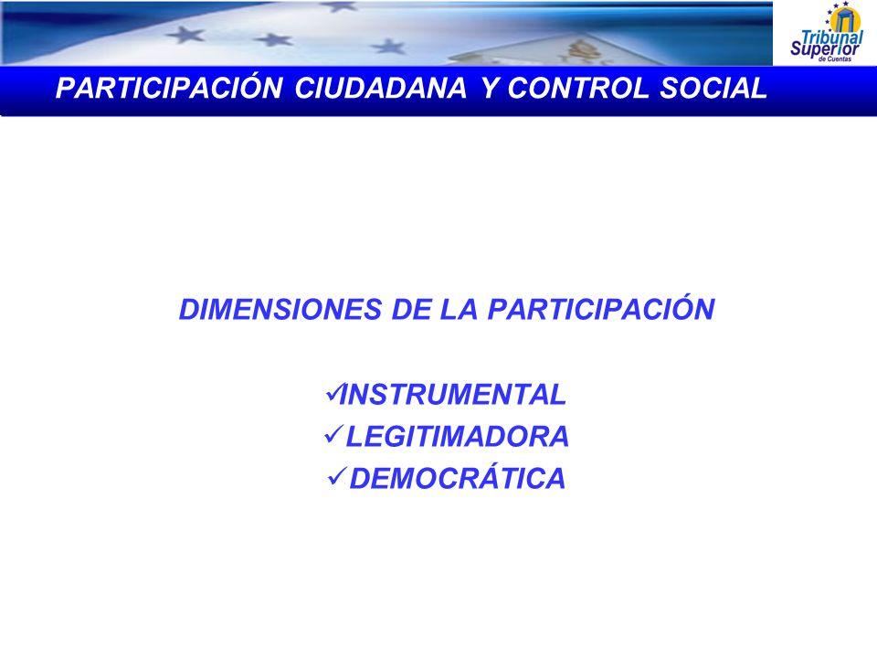 DIMENSIONES DE LA PARTICIPACIÓN INSTRUMENTAL LEGITIMADORA DEMOCRÁTICA PARTICIPACIÓN CIUDADANA Y CONTROL SOCIAL