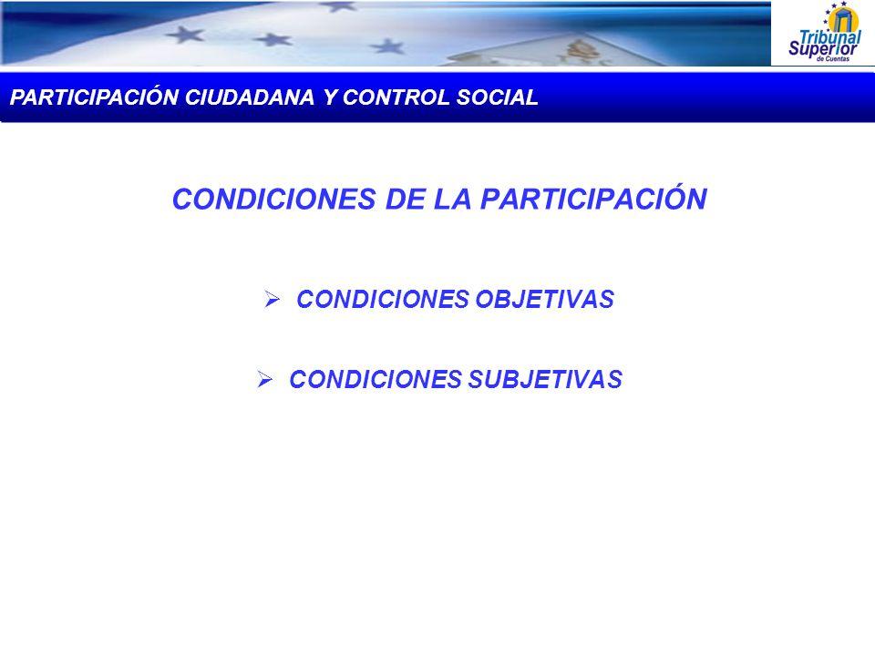 CONDICIONES DE LA PARTICIPACIÓN CONDICIONES OBJETIVAS CONDICIONES SUBJETIVAS