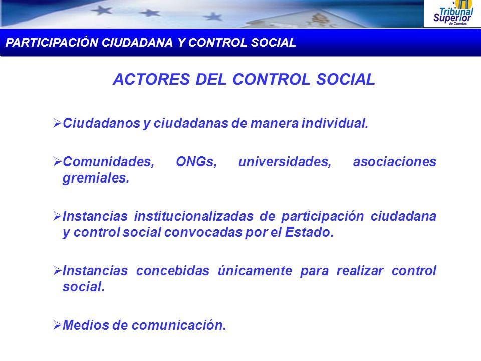 ACTORES DEL CONTROL SOCIAL Ciudadanos y ciudadanas de manera individual. Comunidades, ONGs, universidades, asociaciones gremiales. Instancias instituc