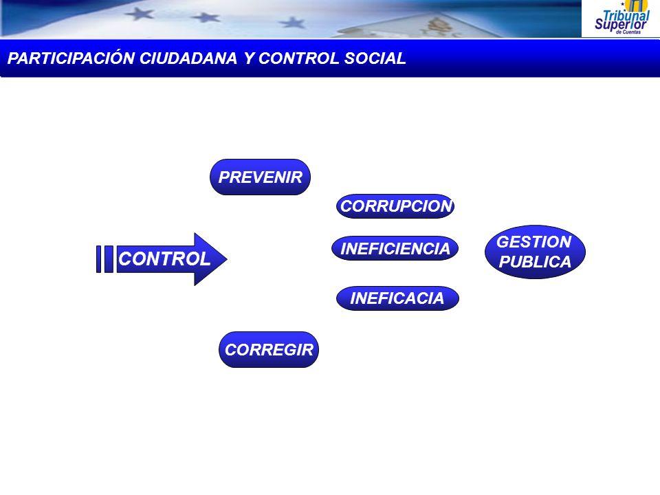 PREVENIR CORREGIR Y/O CORRUPCION INEFICACIA INEFICIENCIA GESTION PUBLICA CONTROL PARTICIPACIÓN CIUDADANA Y CONTROL SOCIAL