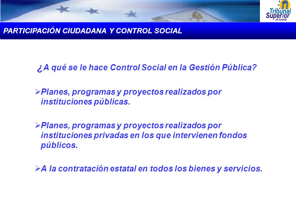 ¿ A qué se le hace Control Social en la Gestión Pública? Planes, programas y proyectos realizados por instituciones públicas. Planes, programas y proy